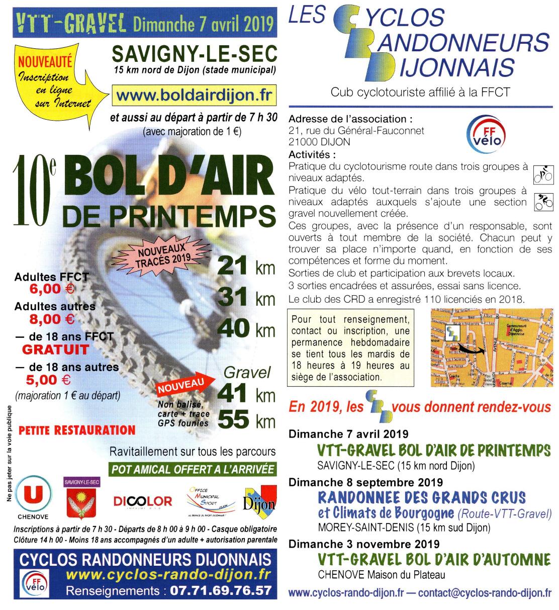 0ecb691afa Toutes les organisations 2019 des Cyclos Randonneurs Dijonnais comporteront  un ou des parcours Gravel à compter du Bol d Air de Printemps le Dimanche 7  ...